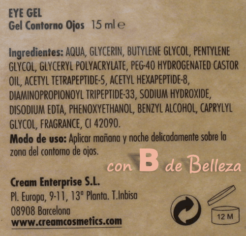 Composición Eye gel
