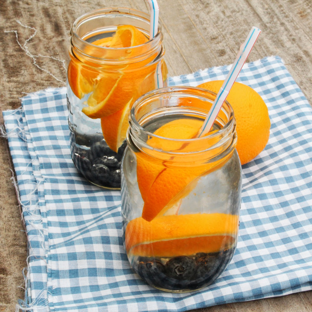 aguas frescas with orange and blueberries