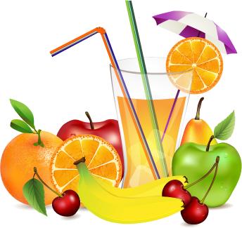 frutos y zumo vectorial