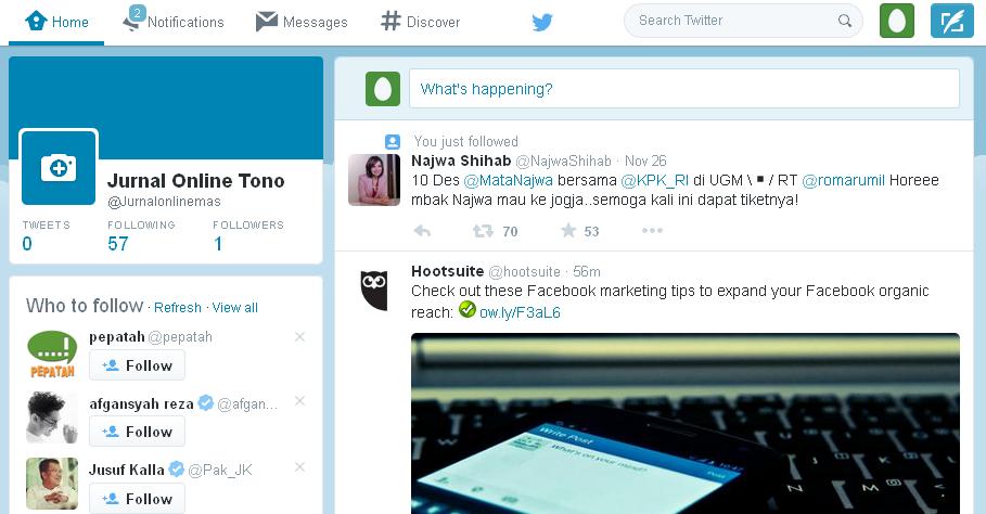 halaman beranda akun twitter baru
