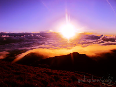 Famous Sunrise with sea of clouds at the peak of Mt. Pulag in Benguet 