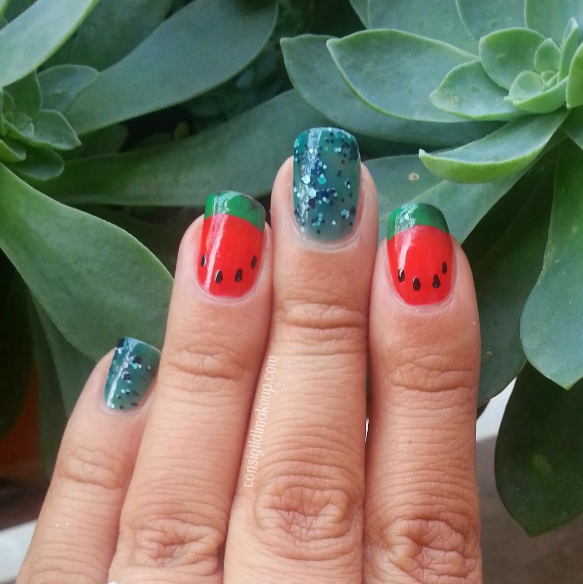 nail art anguria watermelon