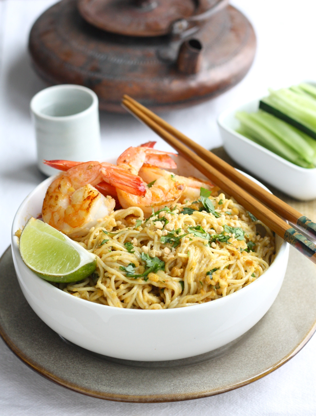 Spicy Peanut Noodles with Shrimp recipe by SeasonwithSpice.com