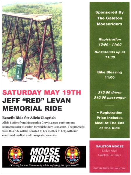 "5-19 Jeff ""Red"" Levan Memory Ride"