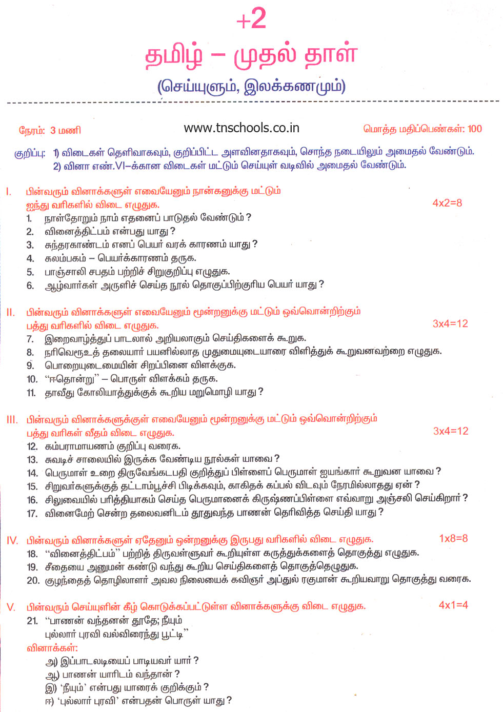 Puthiya Thalaimurai Plus Question Paper