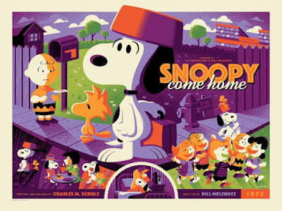 Snoopy Come Home Variant Screen Print by Tom Whalen x Dark Hall Mansion
