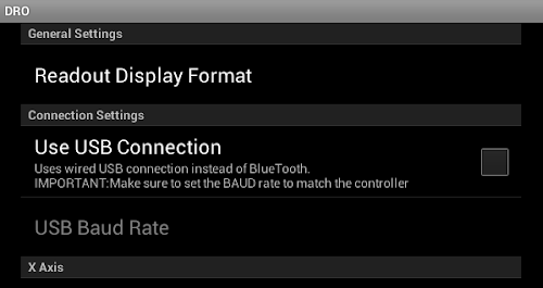 USB Digital Readout Connection Settings