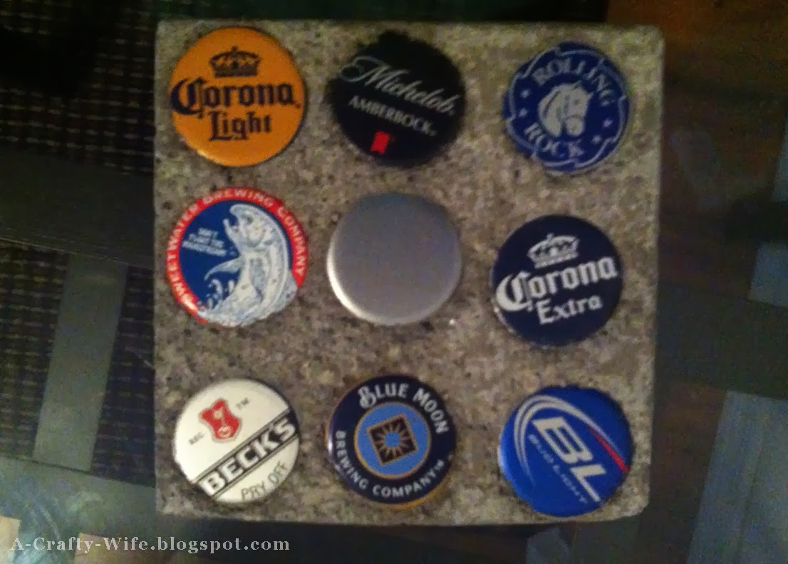 Use beer bottlecaps to make concrete coasters - great for man gift | A Crafty Wife