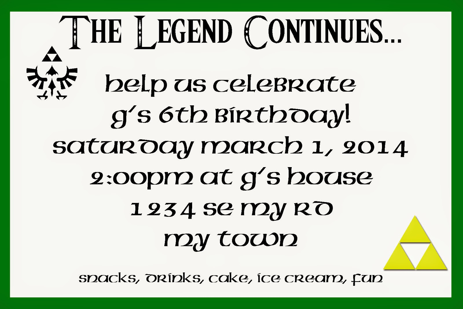 Legend of Zelda/ Link themed birthday party: invitation