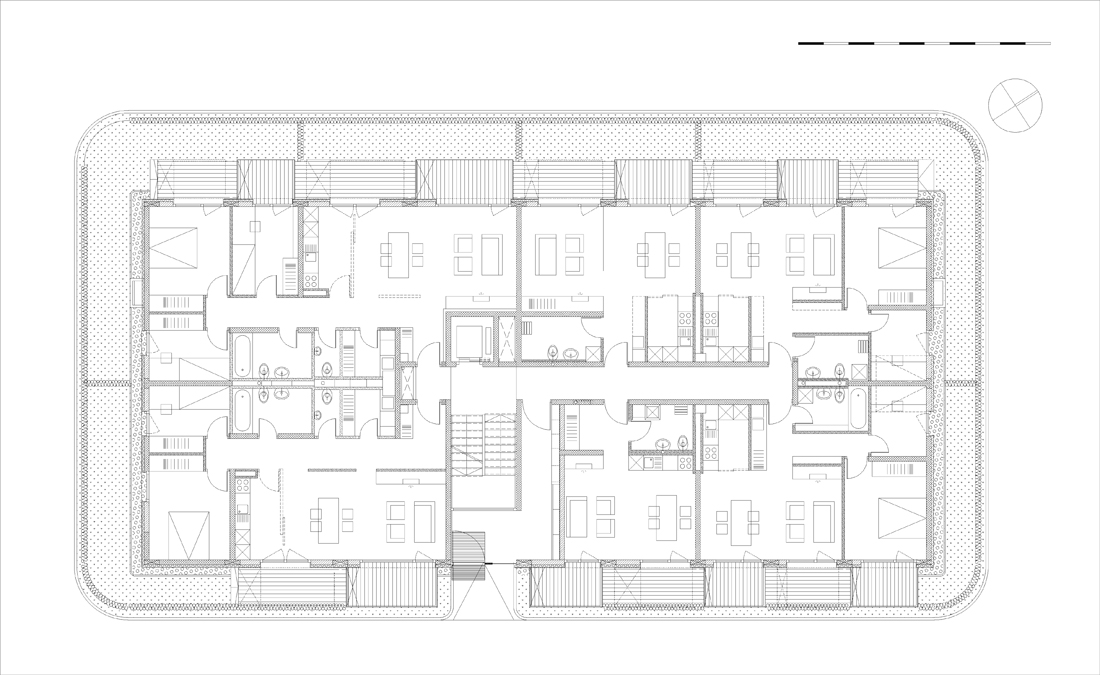 Izola honeycomb apartments by ofis arhitekti housevariety for Honeycomb house floor plan