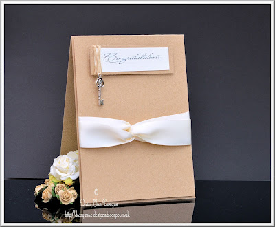 Kraft card,cream, ribbon, linen, congratulations