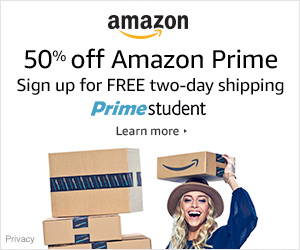 Sign up for Amazon Student: 6 months  Prime + $10 Free