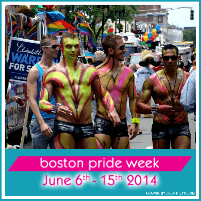 Gay men celebrating the Boston Gay Pride Parade