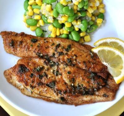Pan Fried Tilapia & Edamame Succotash