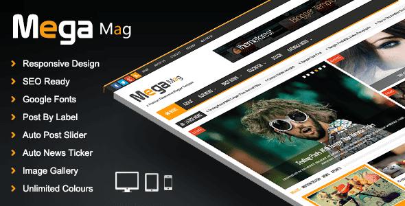 Mega Mag V1.30 Responsive Magazine Blogger/Blogspot Premium Template