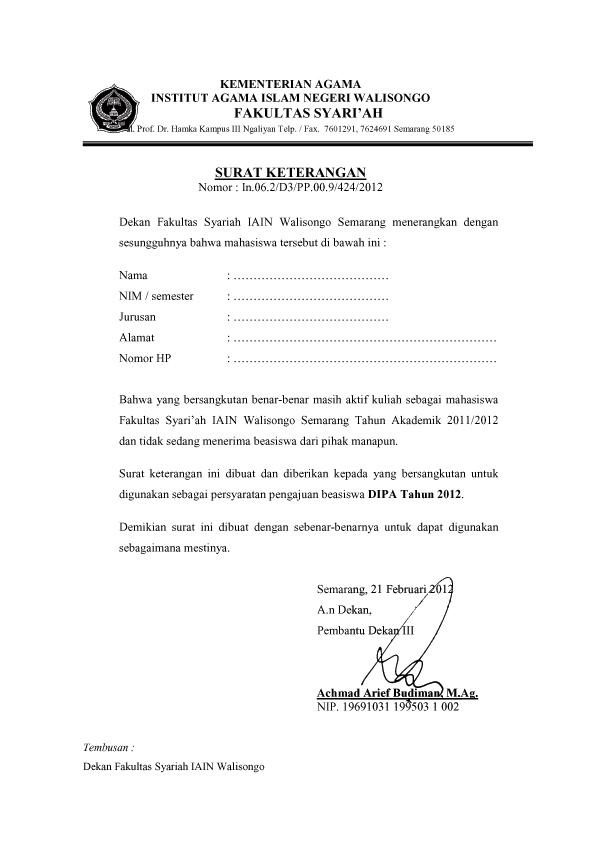 Surat Keterangan Tidak Menerima Beasiswa Untuk Dipa 2012
