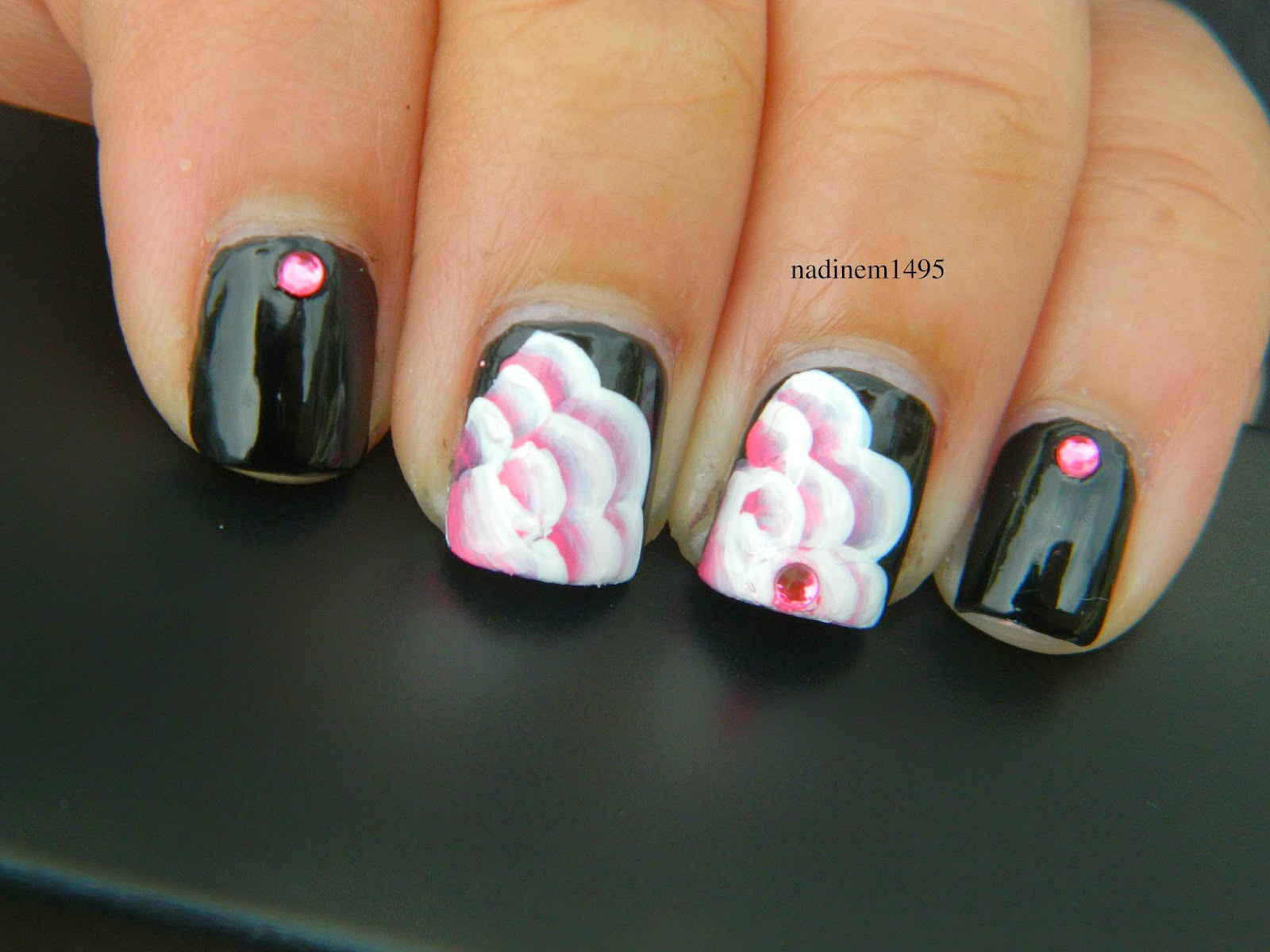Painted Pink Rose Nail Art