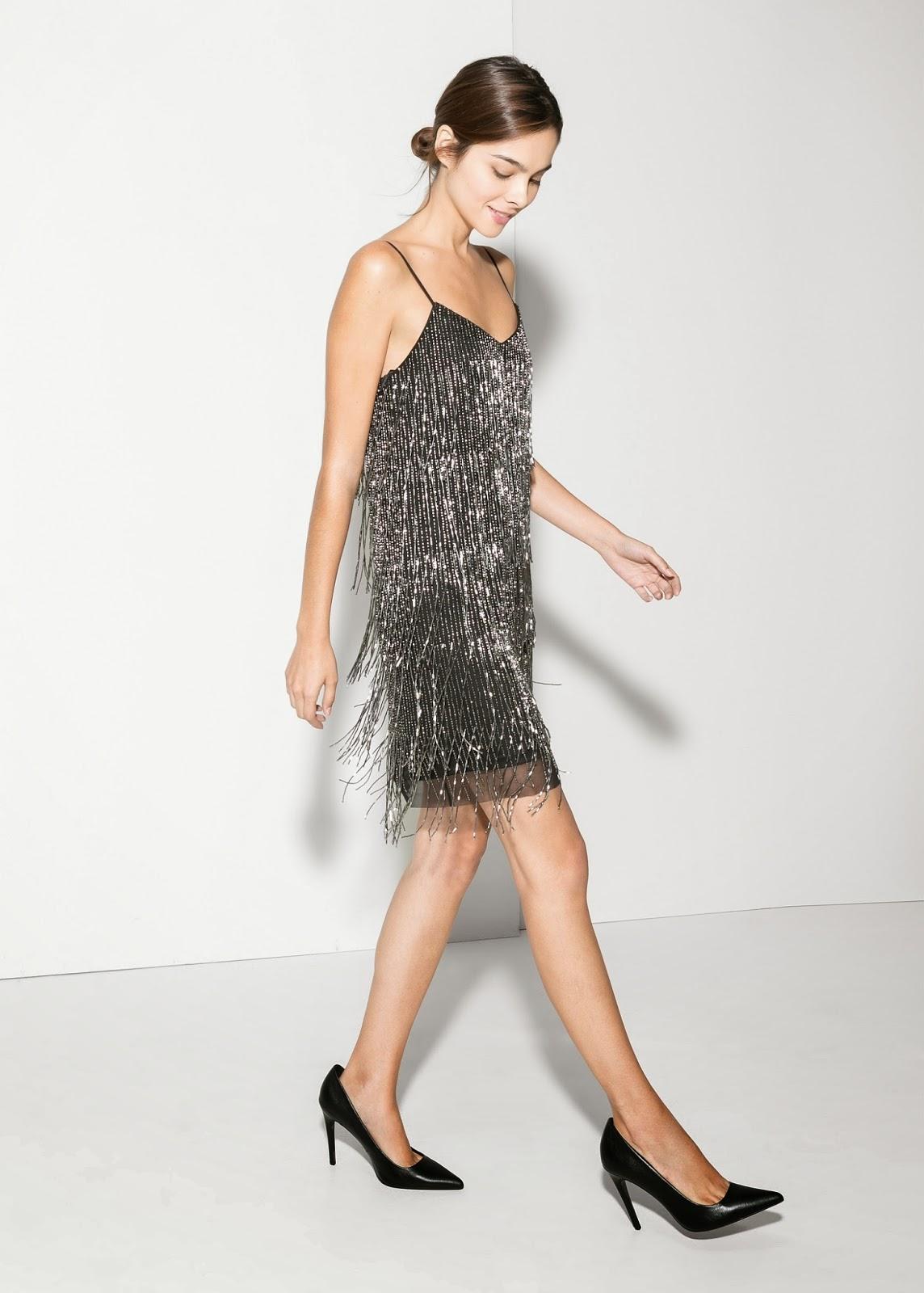silver fringe dress