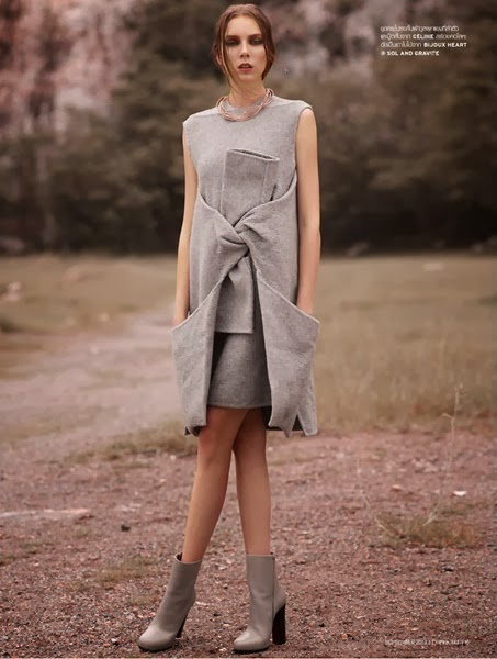 Céline AW 2013 gray dress with big knots