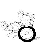 Dibujos de niños discapacitados para colorear (silla de ruedas )