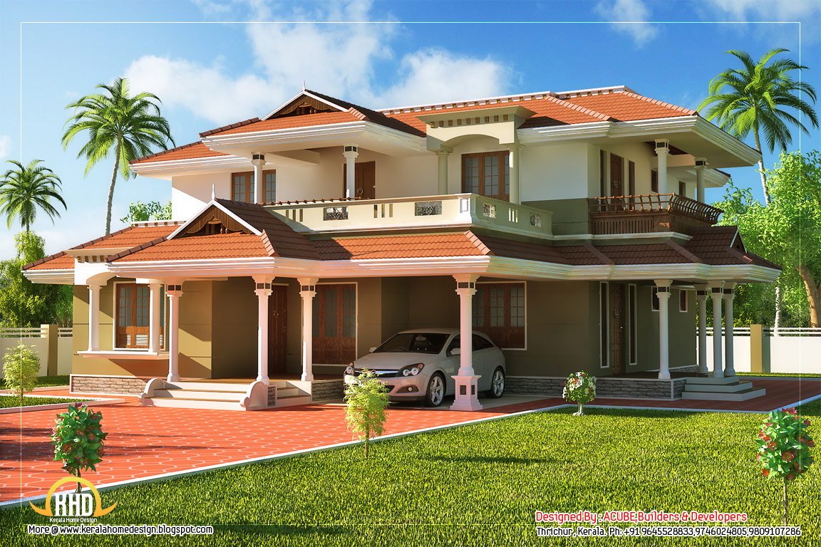 Beautiful kerala style 2 story house 2328 sq ft for Big two story houses
