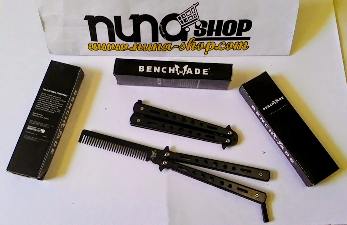 New Stainless Steel Balisong Flipping Butterfly Comb - Benchamade Silver - Sisir Lipat Minyak Rambut Pomade Bahan Stainless Steel Warna Black Hitam