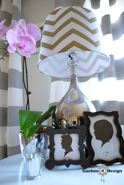 chevron lamp shade and grey horizontal striped curtains