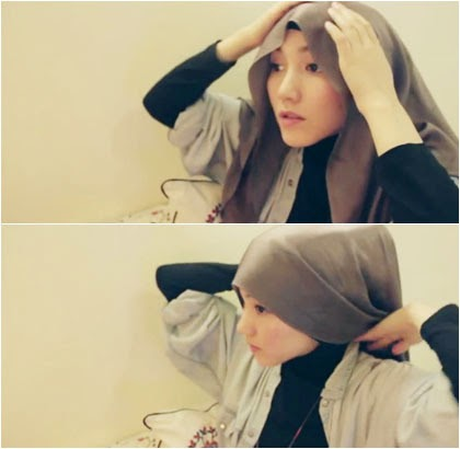 Tutorial Gaya Hijab Simple dengan Scarf Satin Segi Empat 1