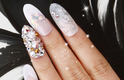 White Dress Self Nail! White, Silver and Stones nail art