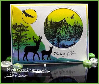 North Coast Creations Stamp sets: Deer Silhouette Greetings, Our Daily Bread Designs Stamp sets:  Bookmarks Trees, Keep Climbing, ODBD Custom Dies: Flourished Star Pattern