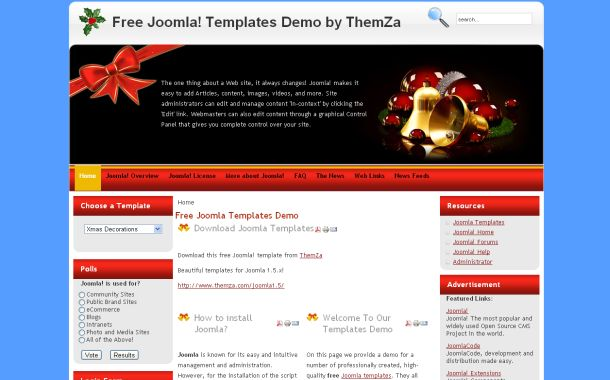 Free Christmas Blue Decoration Joomla Template