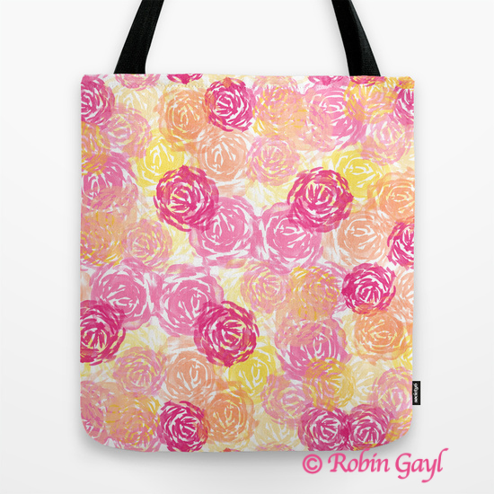 Watercolor Flowers, Floral, Abstract, Art Print, Red, Peach, Rose, Yellow, Orange, Tote, Handbag