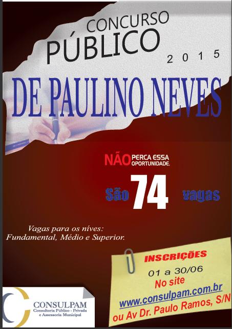 Inscrições para Concurso Público de Paulino Neves-MA