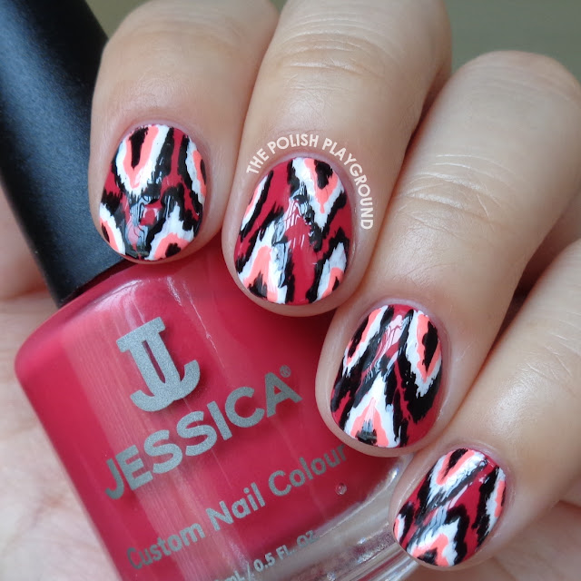 Red and Pink Ikat Nail Art