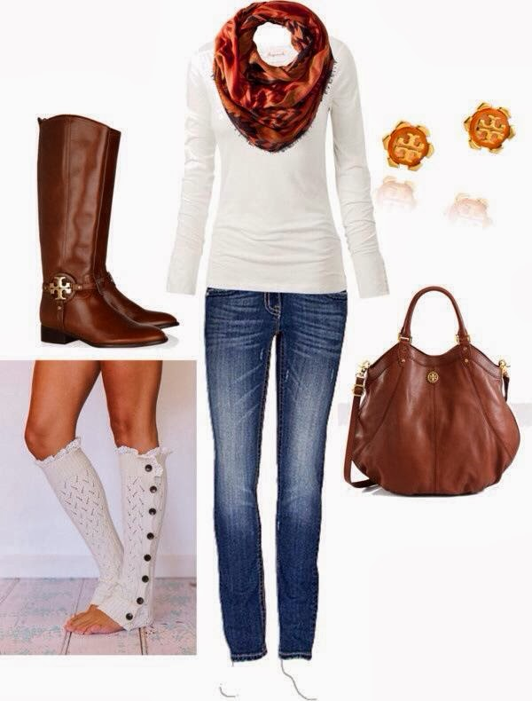 Adorable Outfit - White Blouse and Jeans with Circle Scarf, Leather Tory Burch Boots with Boot Socks and Handbag, Earrings