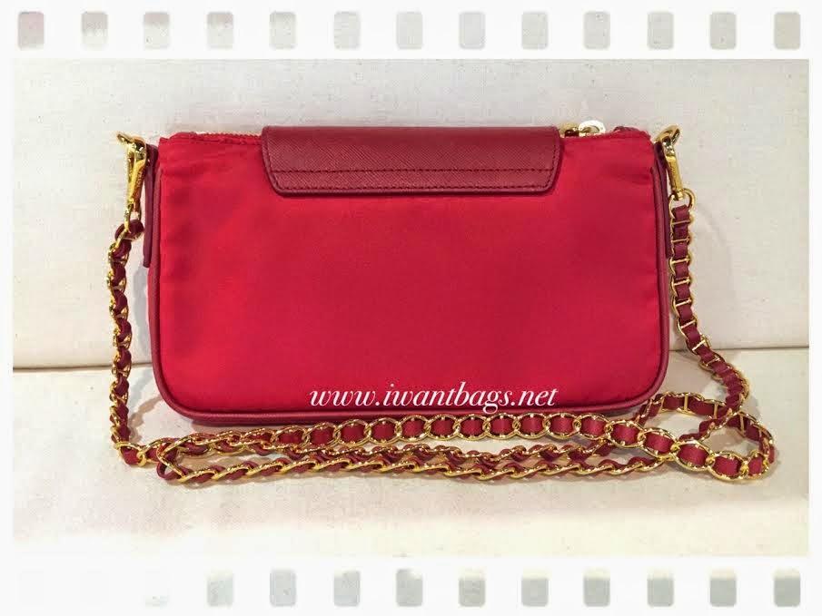 prada handbags for cheap - Prada BT0779 Nylon Tessuto Saffiano Clutch Sling Bag -Rosso
