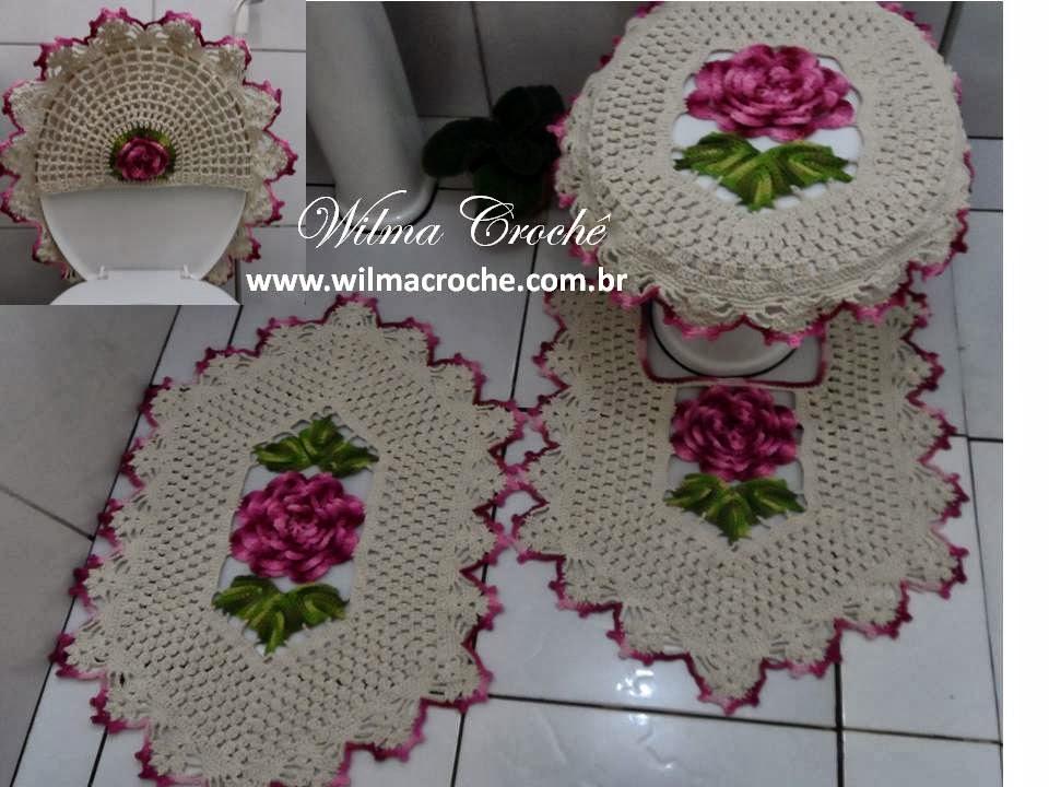 Wilma Crochê Jogo de banheiro em crochê -> Jogo Pia De Banheiro