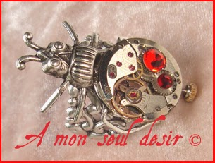 Bague Steampunk Insecte Scarabée Mécanisme Mouvement de montre mécanique Insect Scarab Beetle Clockwork Watch work ring Mechanical