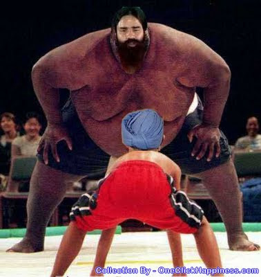 Ramdev Baba's fignt against Corruption, Corrupted Indian Economy, Corrupted Indian UPA Leaders, Funniest Photo Mixing, Manmohan Singh and Baba Ramdev in the Act of Japanese Sumo Wrestlers