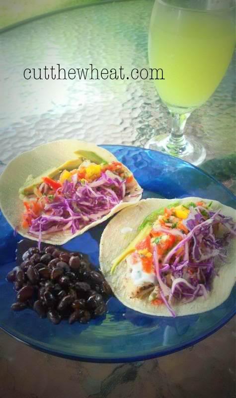 Fantastically fabulous fish tacos with mango salsa and for Fish taco sauce yogurt