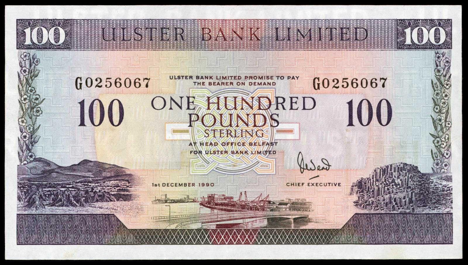 northern ireland 100 pound sterling note 1990 ulster bank