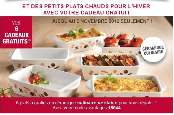 Cadeau gratuit 3 Suisses: 6 plats à gratins en céramique