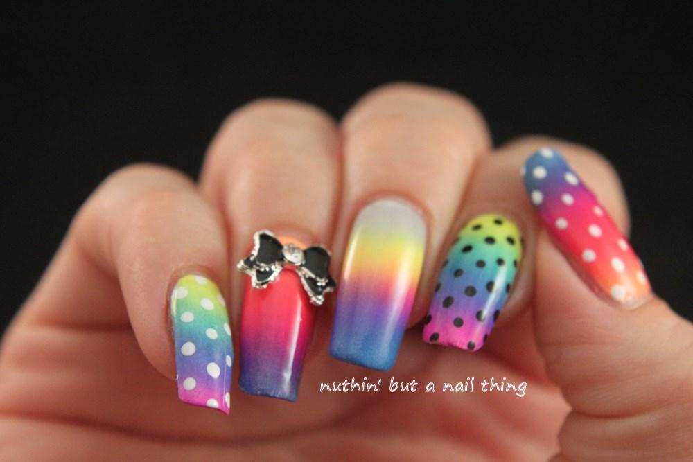 Bright polka dot nail art