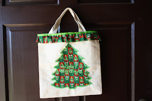 Embroidered Christmas Tote Bag