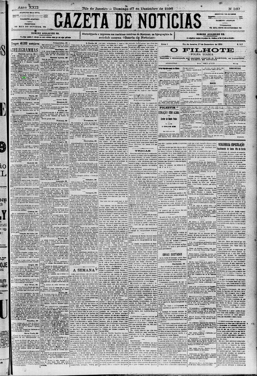 """crônica de Machado de Assis  27.12.1896 série """"A Semana"""", na Gazeta de Notícias"""