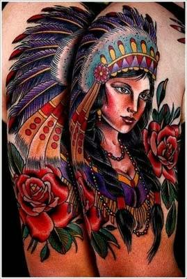 tattoo de india de casal com rosas