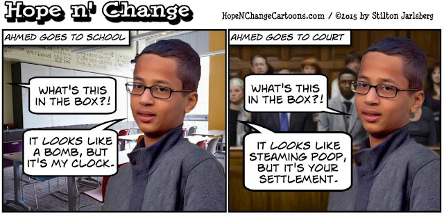 obama, obama jokes, political, humor, cartoon, conservative, hope n' change, hope and change, stilton jarlsberg, ahmed, clockmaker, terror, clock, bomb