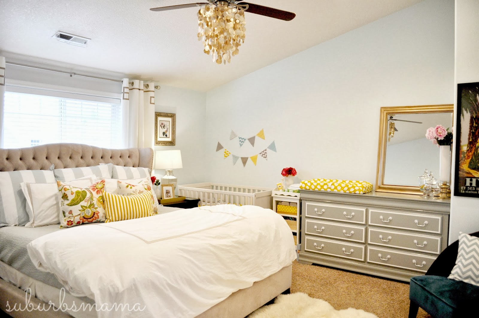 Suburbs mama nursery in master bedroom Master bedroom plus nursery