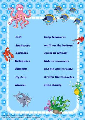 sea animals vocabulary make sentences in  present simple worksheet