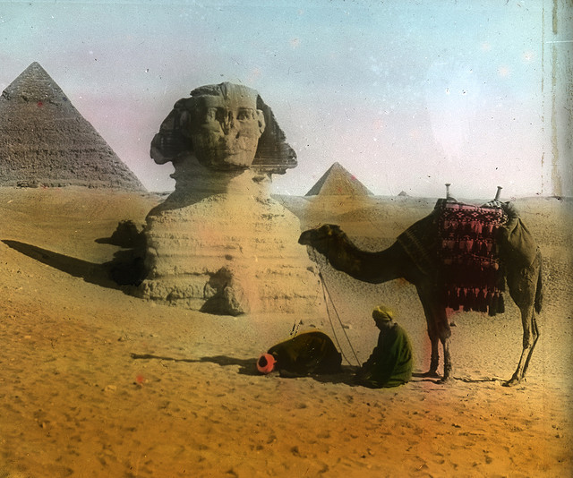 Egypt, Gizeh. Sphinx and Pyramid. Brooklyn Museum Archives